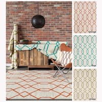 Artist's Loom Flatweave Contemporary Geometric Pattern Wool Rug (7'x10') - 7'x10'