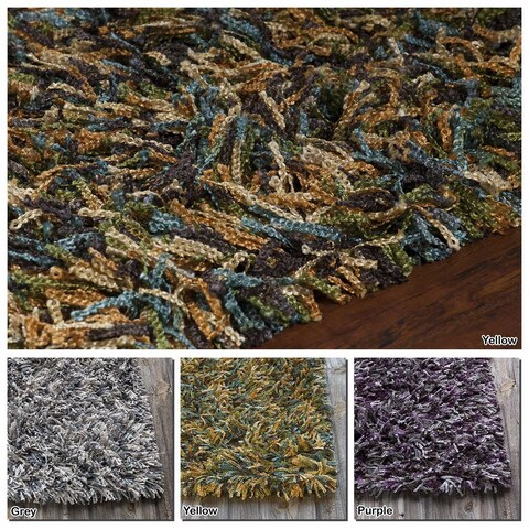 """Artist's Loom Hand-Woven Contemporary Abstract Pattern Shag Rug (7'9""""x10'6"""")"""