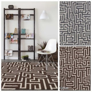 Artist's Loom Flatweave Contemporary Geometric Pattern Wool Rug (7'x10')