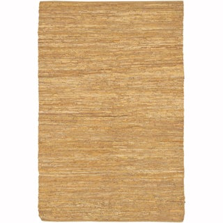 """Artist's Loom Flatweave Contemporary Solid Pattern Leather Rug (3'6""""x5'6"""") - 3'6""""x5'6"""" (Option: Gold/Beige)"""
