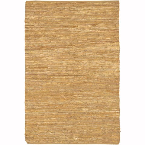 "Artist's Loom Flatweave Contemporary Solid Pattern Leather Rug (3'6""x5'6"") - 3'6""x5'6"""