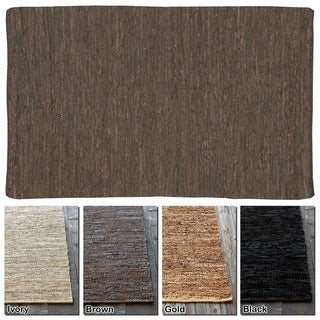 """Artist's Loom Flatweave Contemporary Solid Pattern Leather Rug (3'6""""x5'6"""")"""