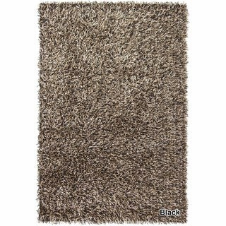 Artists Loom Hand-Woven Contemporary Abstract Pattern Shag Rug (4x6) (black/cream/olive)