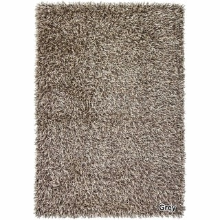 Artists Loom Hand-Woven Contemporary Abstract Pattern Shag Rug (4x6) (Cream/Grey)