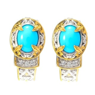 One-of-a-kind Michael Valitutti Palladium Silver Sleeping Beauty Turquoise and White Zircon Earrings