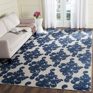 Safavieh Cottage Contemporary Scrolls Light Grey/ Royal Blue Rug (9' x 12')