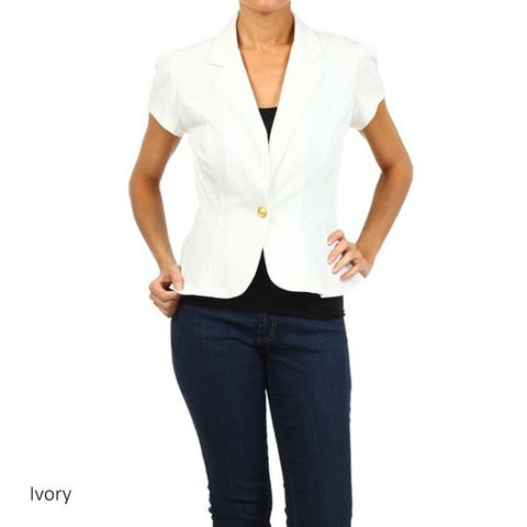 MOA Collection Women's Solid Blazer Jacket