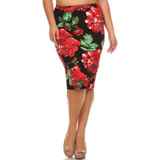 MOA Collection Women's Floral Polyester Blend Plus Size Pencil Skirt