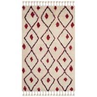 Safavieh Casablanca Handmade Moroccan Flokati Ivory/ Fuchsia Wool Rug - 8' x 10'