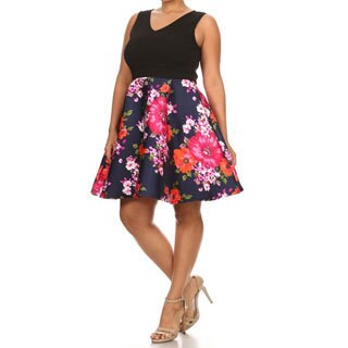 MOA Collection Women's Plus Size Sleeveless Rayon, Spandex Floral Dress