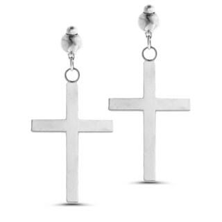 Marc & Ivy 14k White Gold Small Cross Post Earrings
