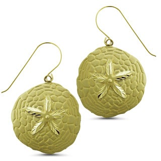 Marc & Ivy 14k Yellow Gold Diamond-cut Satin Sand Dollar French Wire Earrings