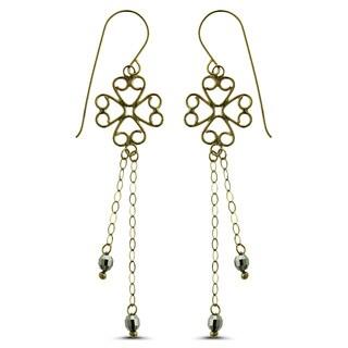 Marc & Ivy 14k Flat Open Wire Clover Mirror Bead Earrings
