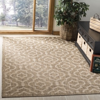 Safavieh Courtyard Contemporary Indoor/Outdoor Brown/ Bone Rug (9' x 12')