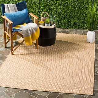 Safavieh Courtyard Contemporary Indoor/Outdoor Natural/ Cream Rug (9' x 12')