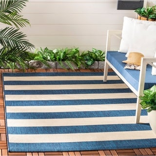 Safavieh Courtyard Contemporary Indoor/Outdoor Navy/ Beige Rug (8u0027 X ...