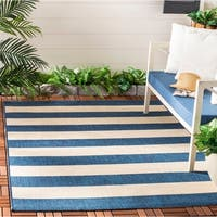 Safavieh Courtyard Contemporary Indoor/Outdoor Navy/ Beige Rug - 8' x 10'