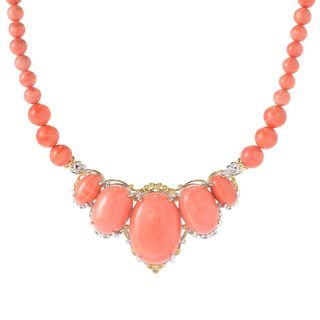 One-of-a-kind Michael Valitutti Palladium Silver Salmon Bamboo Coral Beaded Necklace with Magnetic clasp
