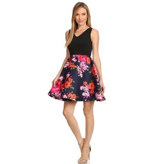 MOA Collection Women's Floral Fit-and-flare Dress