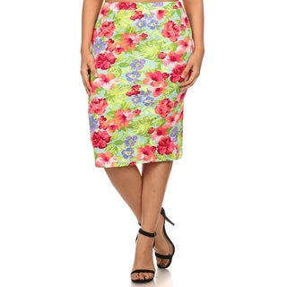 MOA Collection Women's Plus-size Multicolor Polyester and Spandex Floral Skirt