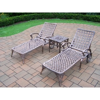 3 Piece Merit Cast Aluminum Lounge Set with 2 Wheeled Chaise Lounges and Side Table