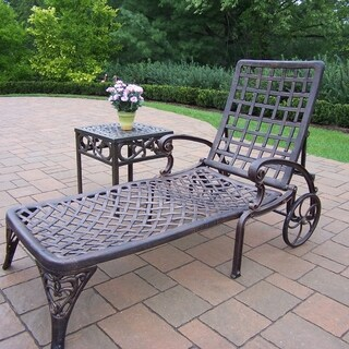 Merit Cast Aluminum 2 Pc Lounge Set with wheeled Chaise Lounge and Side Table