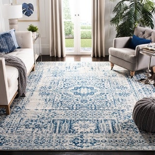 Safavieh Evoke Vintage Ivory / Black Center Medallion Distressed Rug (8' x 10')