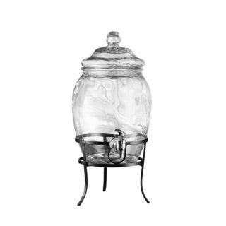 Style Setter Soho Fortune Clear Glass Beverage Dispenser With Metal Stand