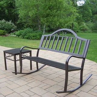 Oakland Living Corporation Hometown Brown Iron Rocking Bench with End Table