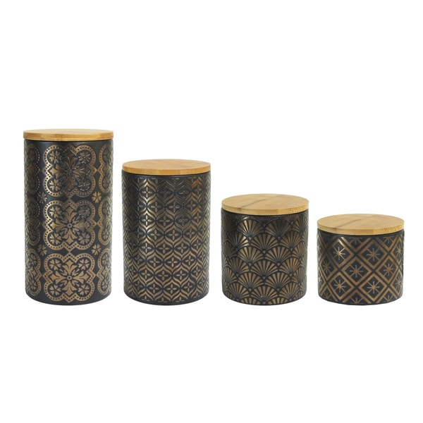 American Atelier Metallic Gold, Black Earthenware 4-piece Canister Set