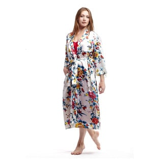La Cera Women's Red Polyester Satin-like Printed Kimono Robe