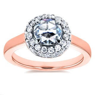 Annello by Kobelli 14k Rose Gold 1 2/5ct TCW Round Rose Cut Moissanite and Diamond Bead Prong Cluster Ring (GH, I1-I2)