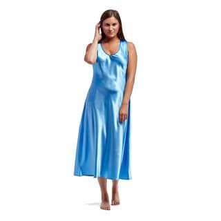 La Cera Women's Blue Polyester Sleeveless V-neck Nightgown