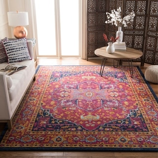 Safavieh Evoke Vintage Medallion Vibrant Fuchsia Pink/ Orange Distressed Rug (9' x 12')