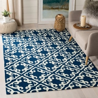 Safavieh Easy Care Traditional Handmade Navy/ Ivory Rug (9' x 12')