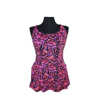 Women's Orange Spandex Printed Swim Dress