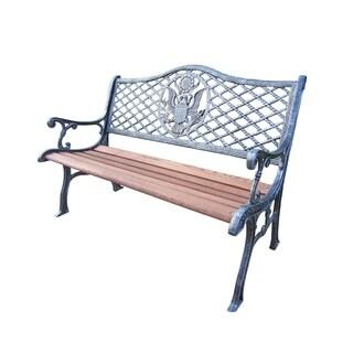 Oakland Living Corporation Brown/ Silver Metal/ Wood American Pride Bench