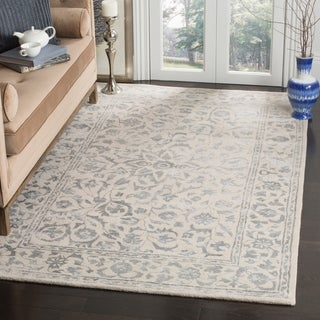 Safavieh Handmade Glamour Floral Silver/ Ivory Viscose Area Rug (8' x 10')