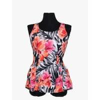 Women's Peach Spandex and Nylon Floral Swim Dress