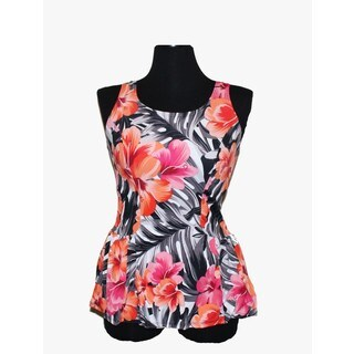 Women's Peach Spandex and Nylon Floral Swim Dress