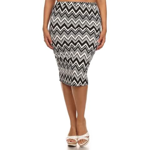 MOA Collection Women's Plus-size Chevron Skirt