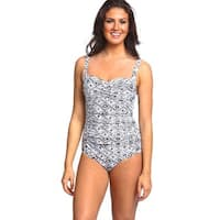 Black and White Nylon and Spandex Diamond-printed Shirred One-piece Swimsuit