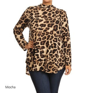 MOA Collection Women's Leopard Mock-neck Top