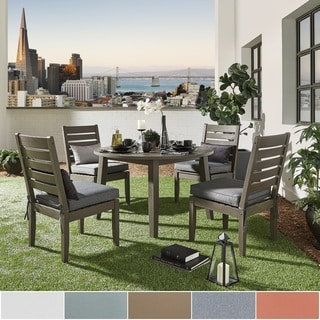 Yasawa Modern Grey Wood Outdoor Round Dining Set INSPIRE Q Oasis