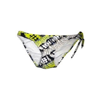 Women's Yellow and Black Nylon and Spandex Gypsy-printed One-side-tie Bottom