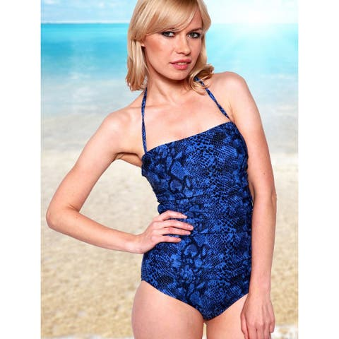 Women's Blue Snake-printed One-piece Bandeau Swimsuit