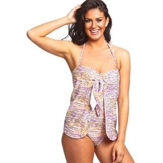 Women's The Wrap Blue Nylon/Spandex 1-piece Swimsuit