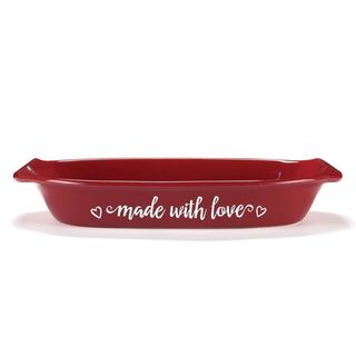 'Made With Love' Red Ceramic Casserole Dish