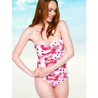 Women's Peacock Red Bandeau One-piece Swimsuit