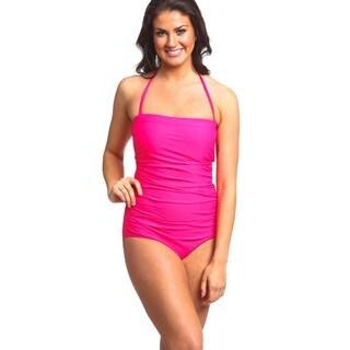 Women's Fuchsia Nylon/Spandex One-piece Bandeau Swimsuit